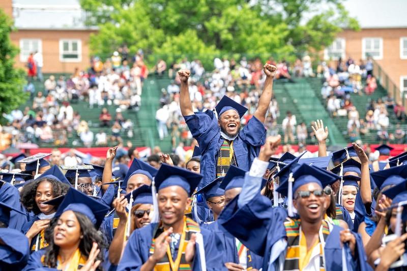 Howard students celebrating graduation