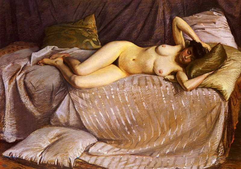 'Nude Lying on a Couch' by Gustave Caillebotte (1848–1894) in 1873, oil on canvas