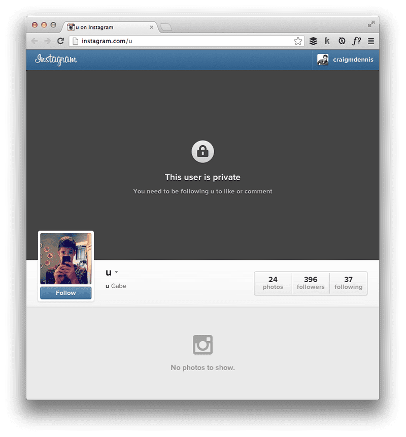 Screenshot of User is private in Instagram website