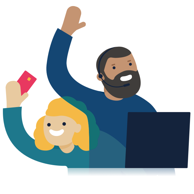 Illustration of two Monzo customer support agents