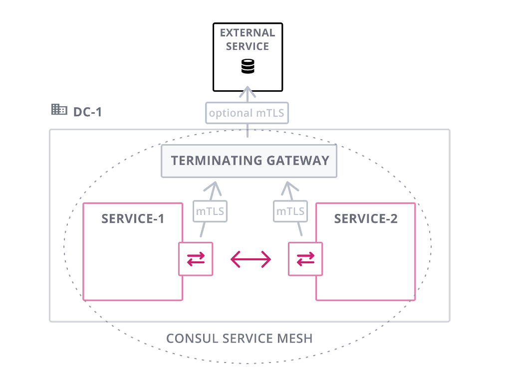 Terminating Gateway single datacenter with external services.