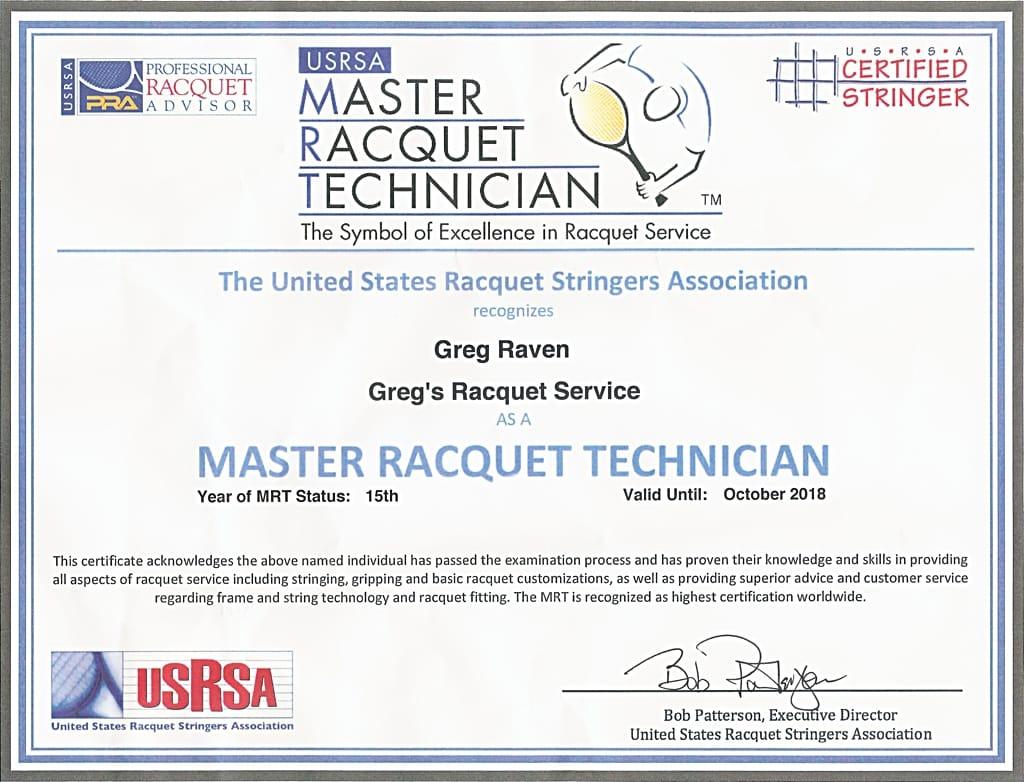 Greg Raven's 2018 USRSA MRT certificate