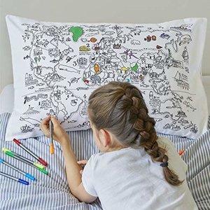 Doodle World Map Pillowcase