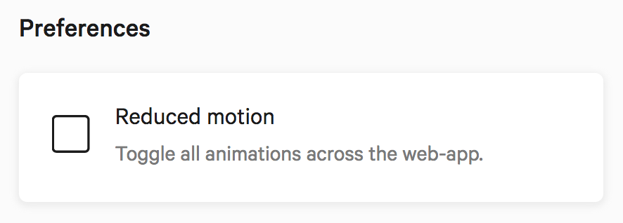 Checkbox to toggle the reduced motion mode