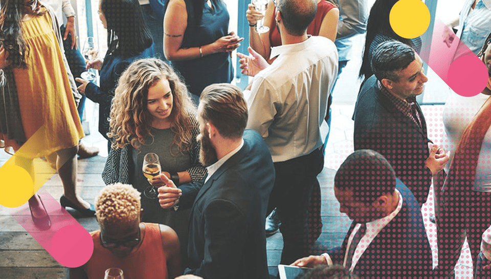 business people at a meetup event