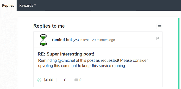 remind.bot mentions