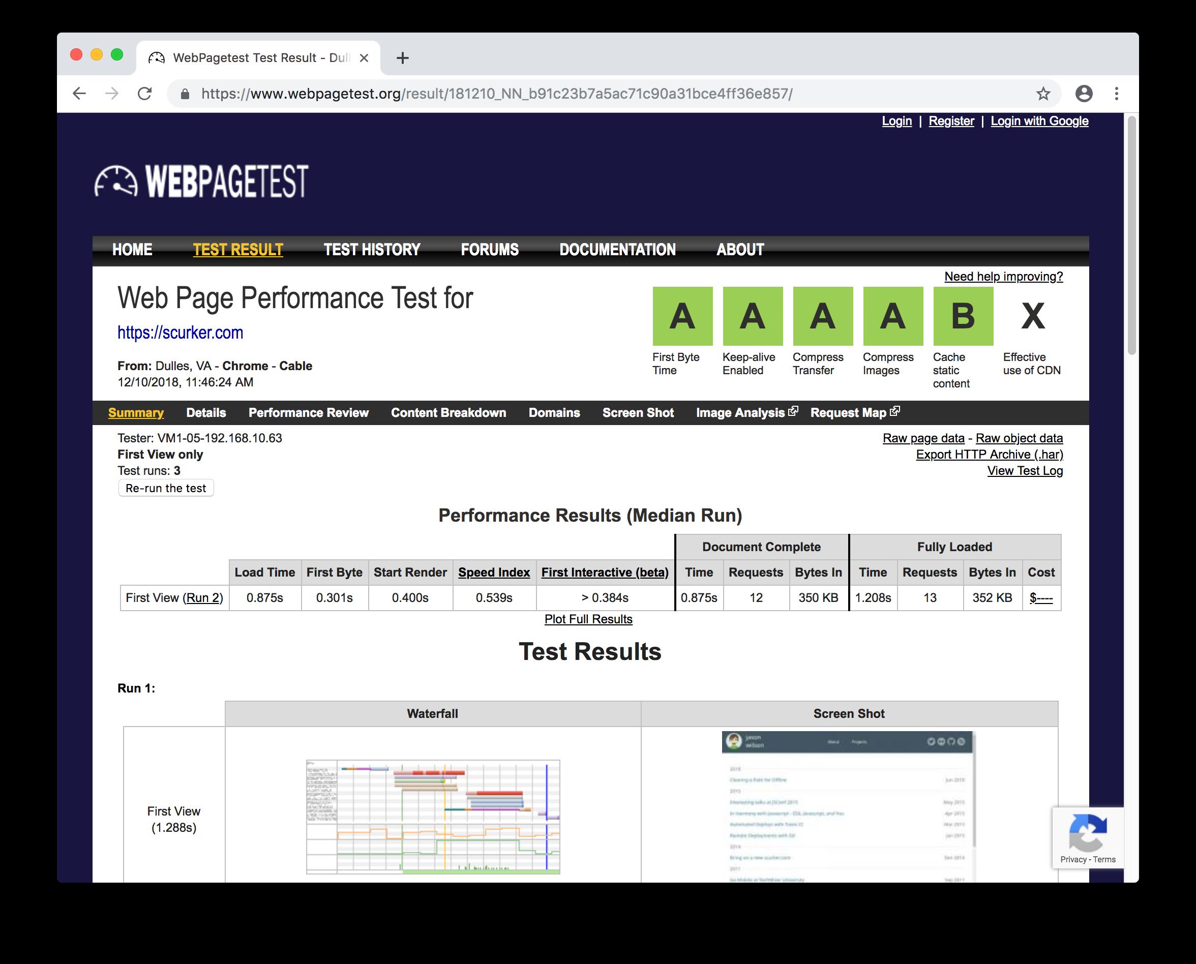 web page test scurker.com results
