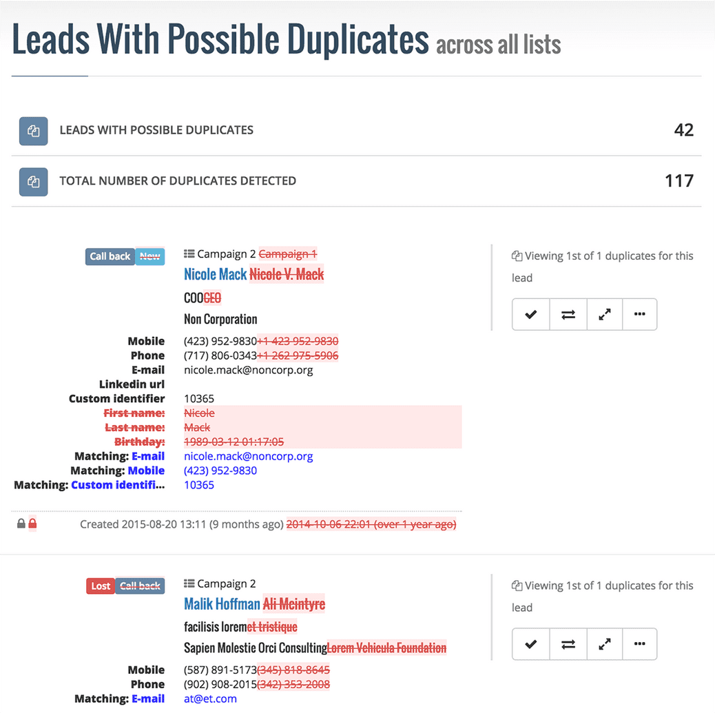 Example of a duplicate report in Myphoner