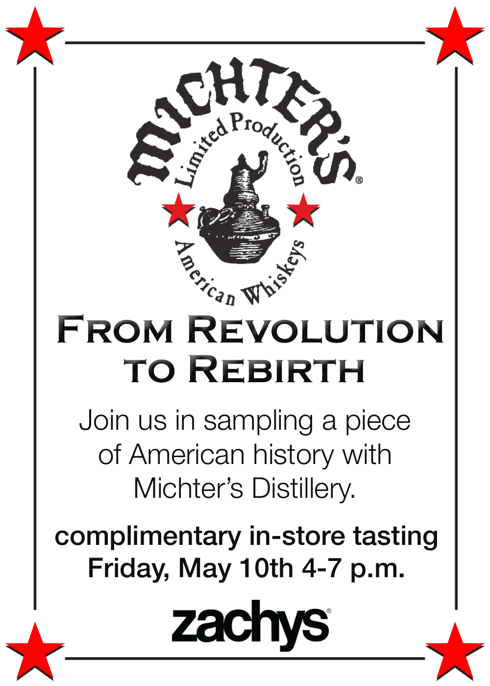 Michter's tasting event 5x7 face-plate poster, red stars in poster corners