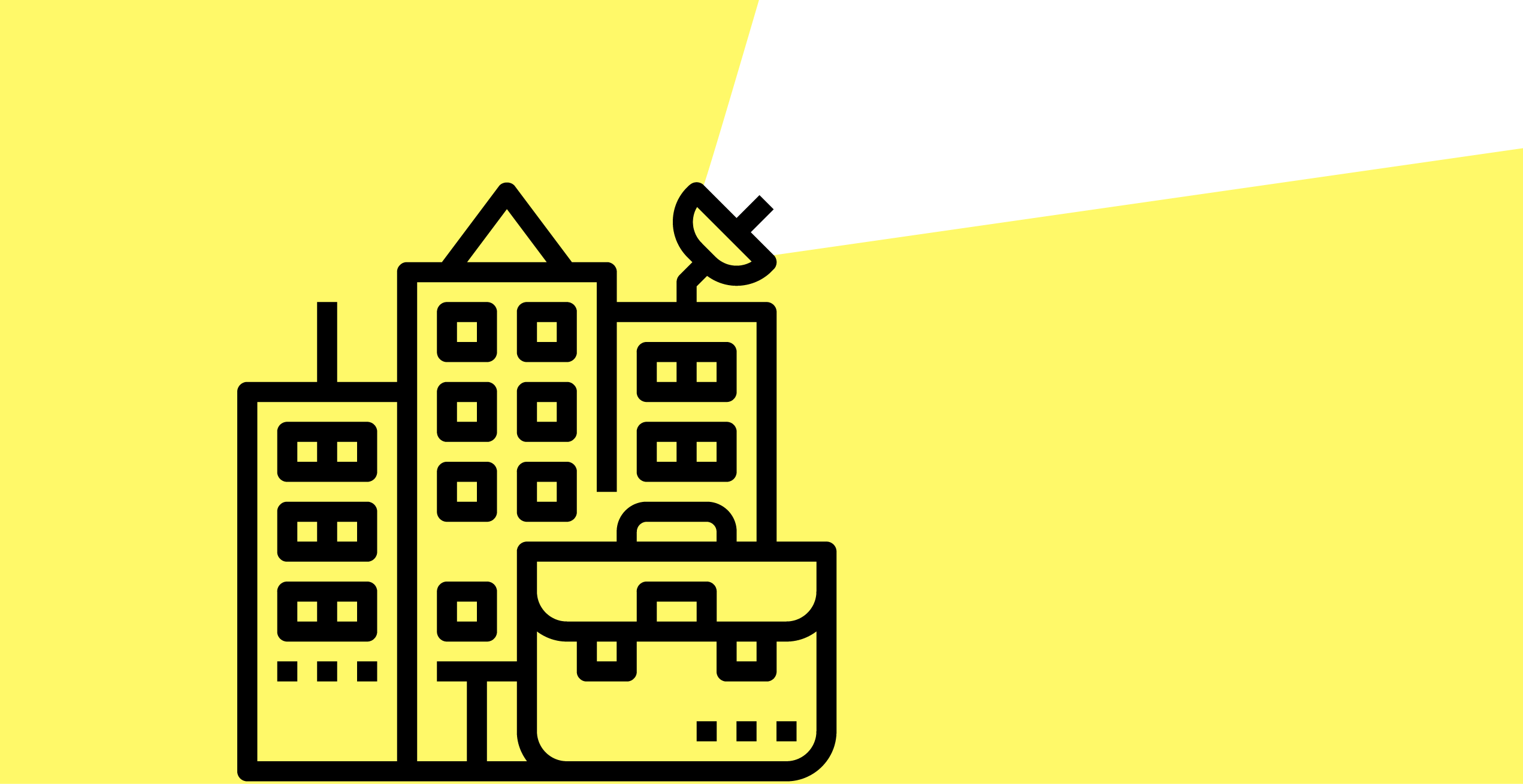 An illustration of a building with a large briefcase in front, on a yellow background