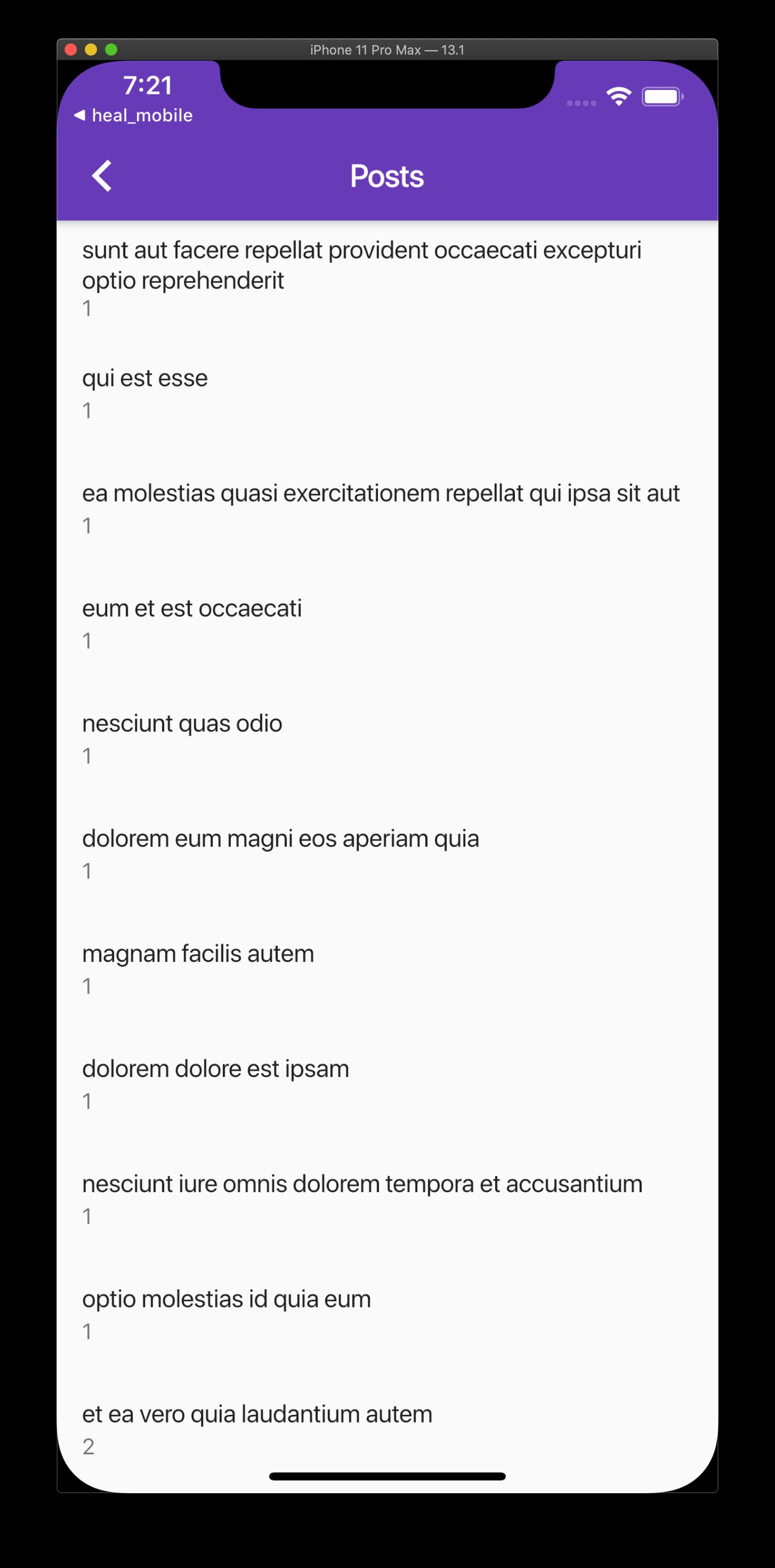 Post List screenshot