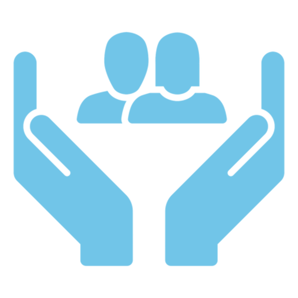 An icon: two hands open with a woman and a man symbol in the middle