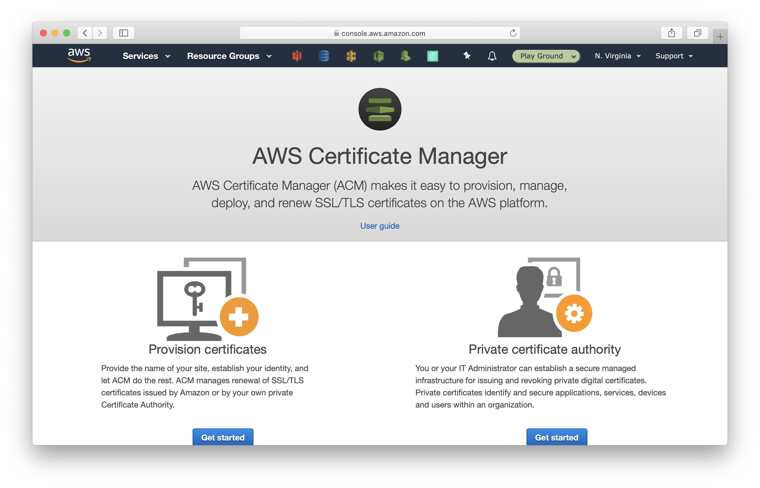 Click Provision certificates in Certificate Manager