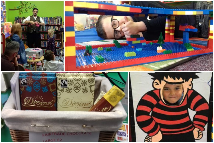 A collage of colourful images from Leiston Library: a magician performing for some children, a boy lying beside a Lego building, a basket of Divine chocolate bars and a boy posing with a Dennis the Menace Aunt Sally board