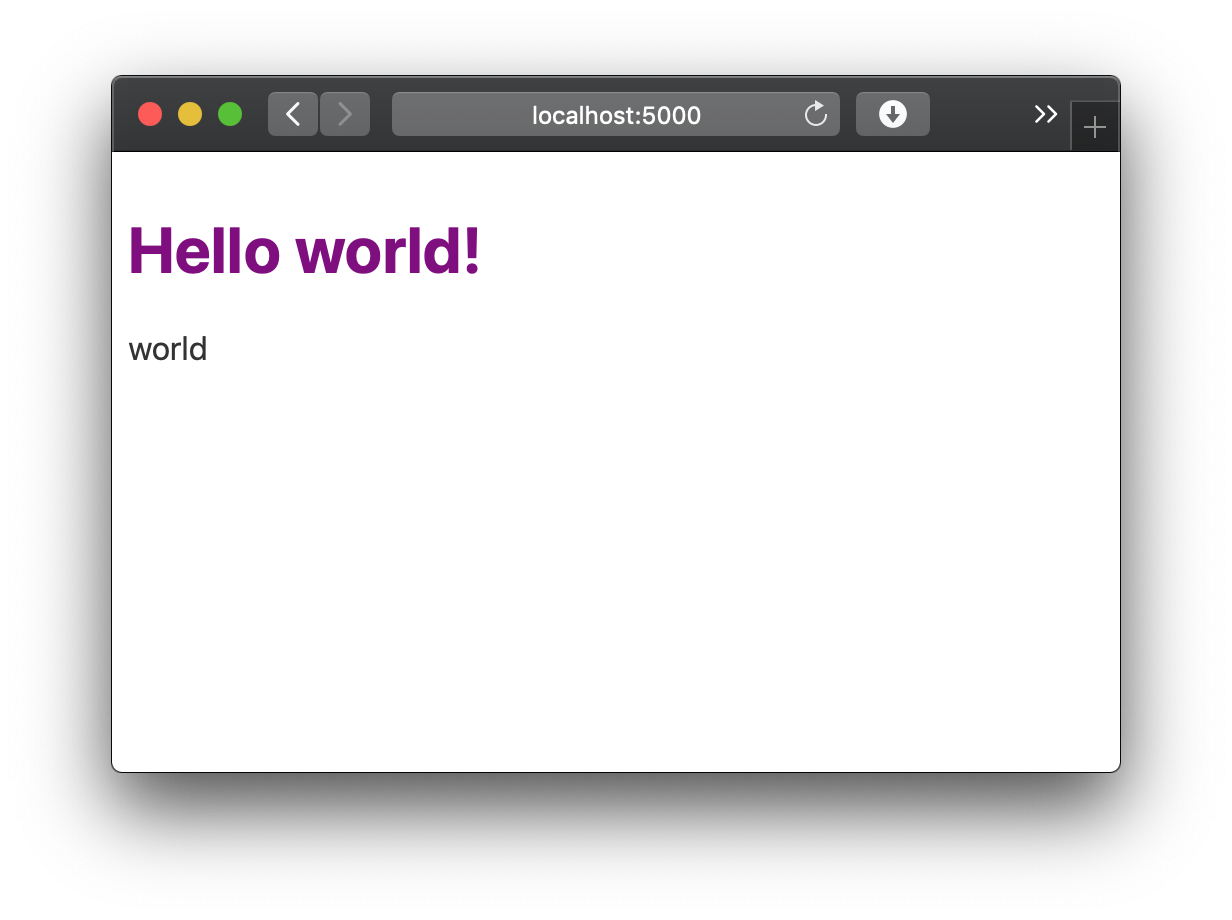 Hello world! is purple and world is black