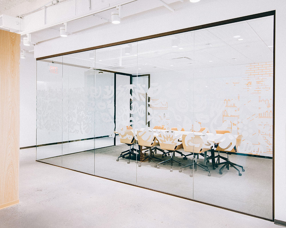 Office Room with Adjacent Glass Walls