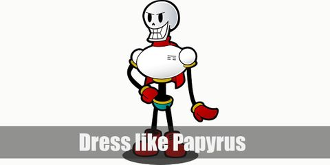 Papyrus has a skeleton body. He wears a white crop top, blue shorts, red boots, and red scarf.