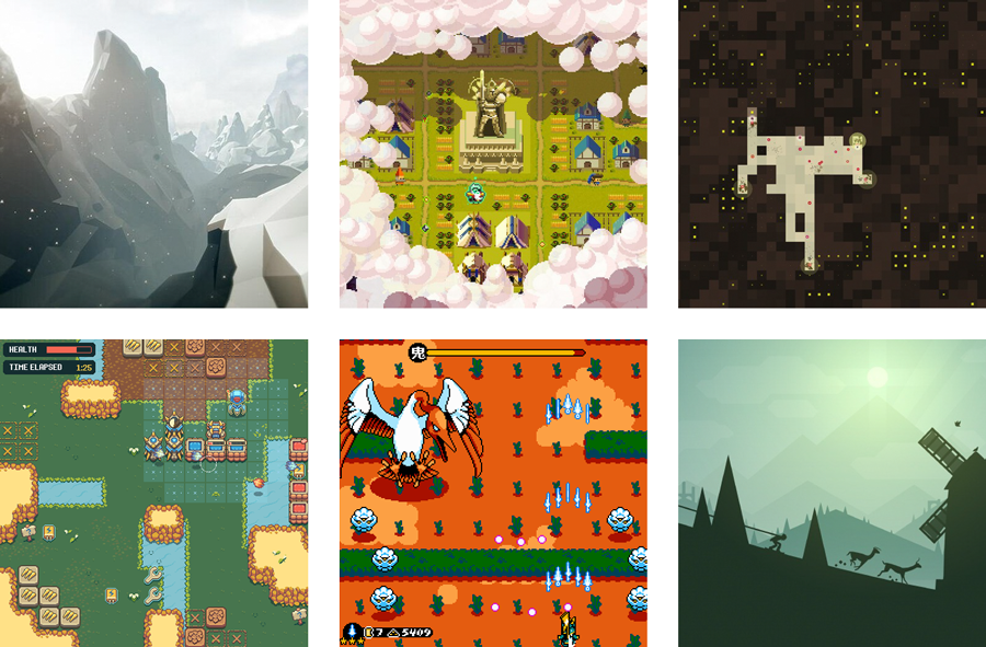 A grid of pixel art pulled from game imagery