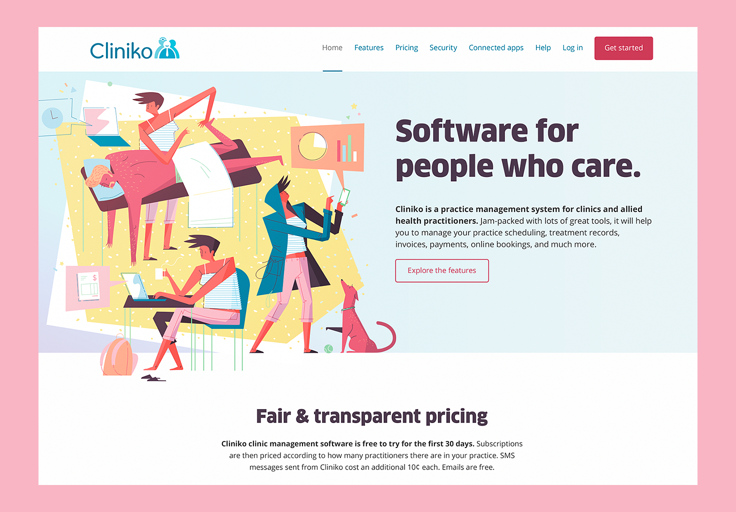 An image showing a screenshot of the redesigned Cliniko website.