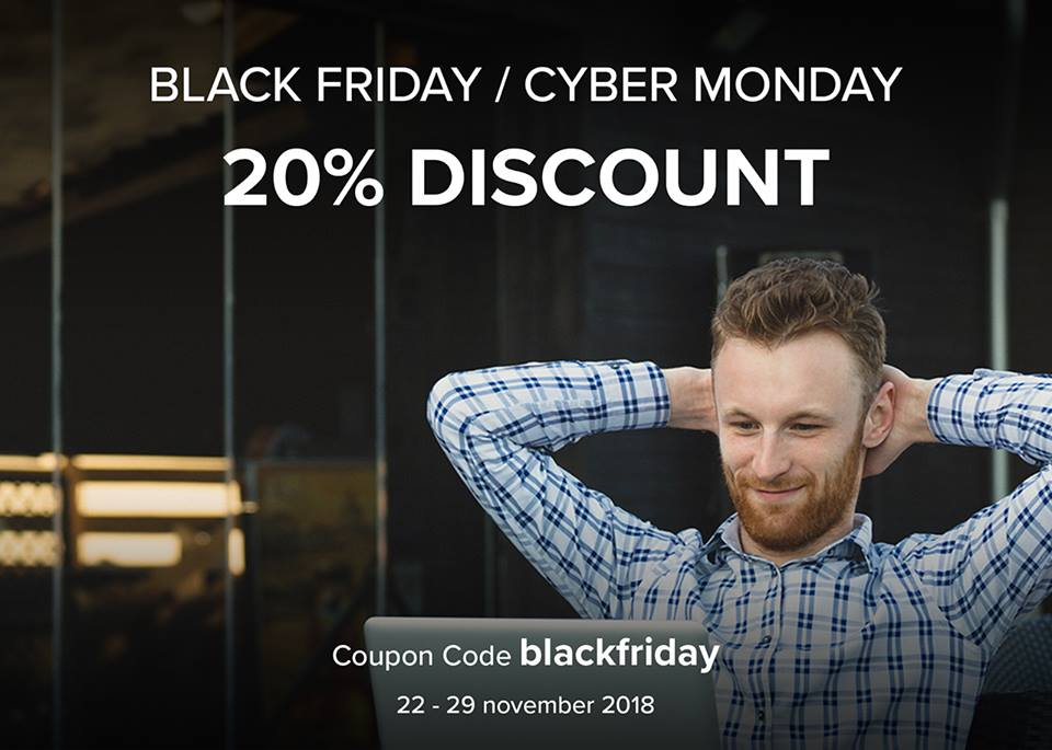 Relaxed person with a laptop and Black Friday / Cyber Monday coupon code