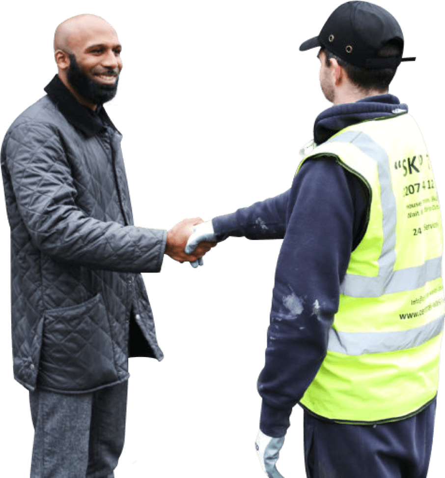 Skip It employee shaking hands with a client