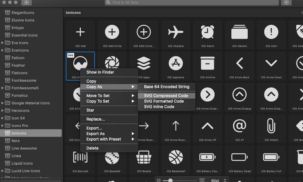 Exporting in IconJar