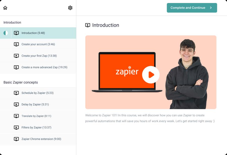 Online learning platform screenshot