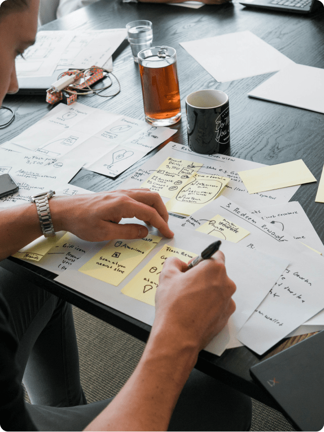 Writing solutions in a post-it note