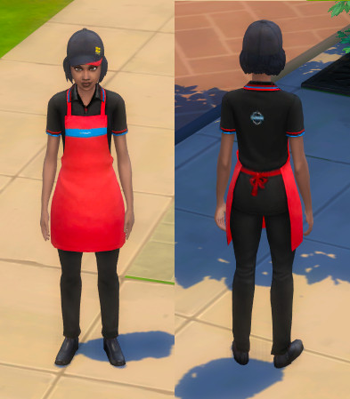 Front and back of the feminine uniform. The uniform is black polo and trousers with a bright red apron. There is a hat that has the Greggs yellow squares logo.