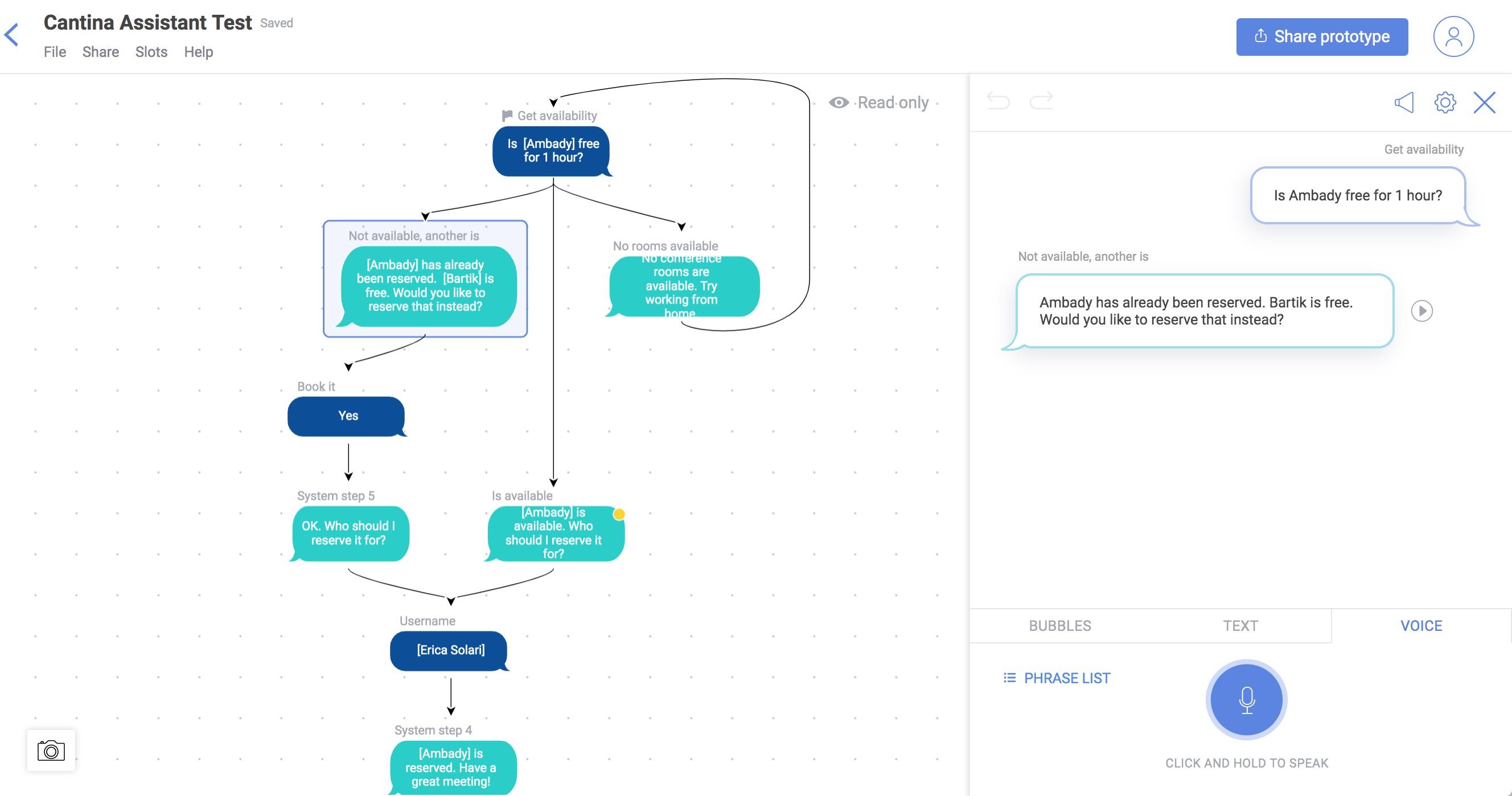 Screenshot of Tortu logic interface using voice or choice commands flow