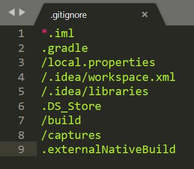 gitignore file contents