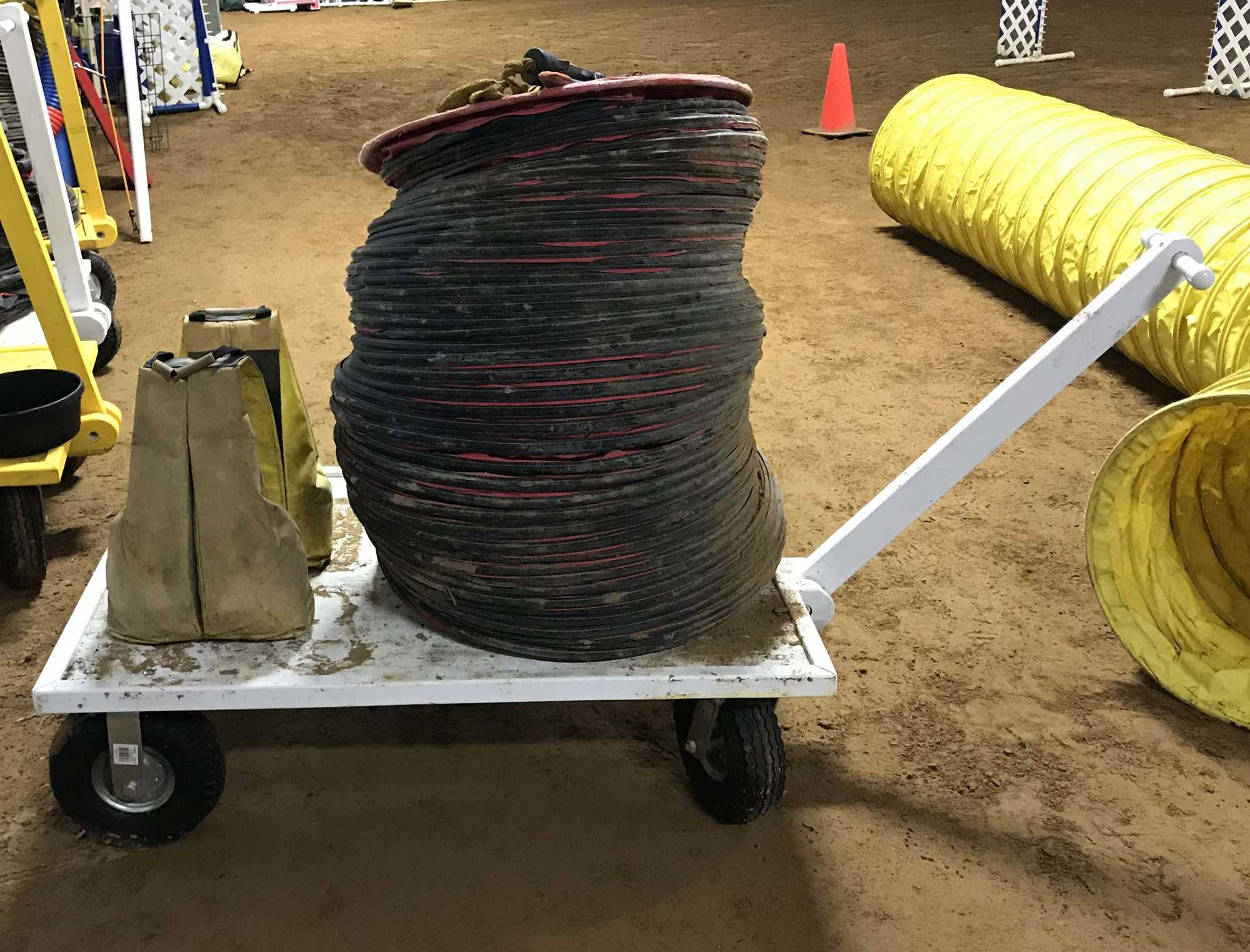 Side View of a Tunnel and Sandbag Cart