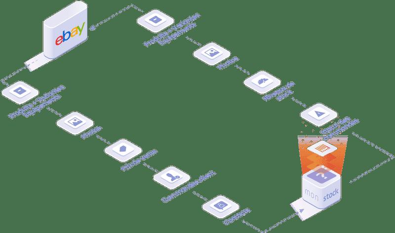 objets et données manipulées dans l'intégration Ebay : produits et équipement, photos, niveau de stocks, statut des commandes.