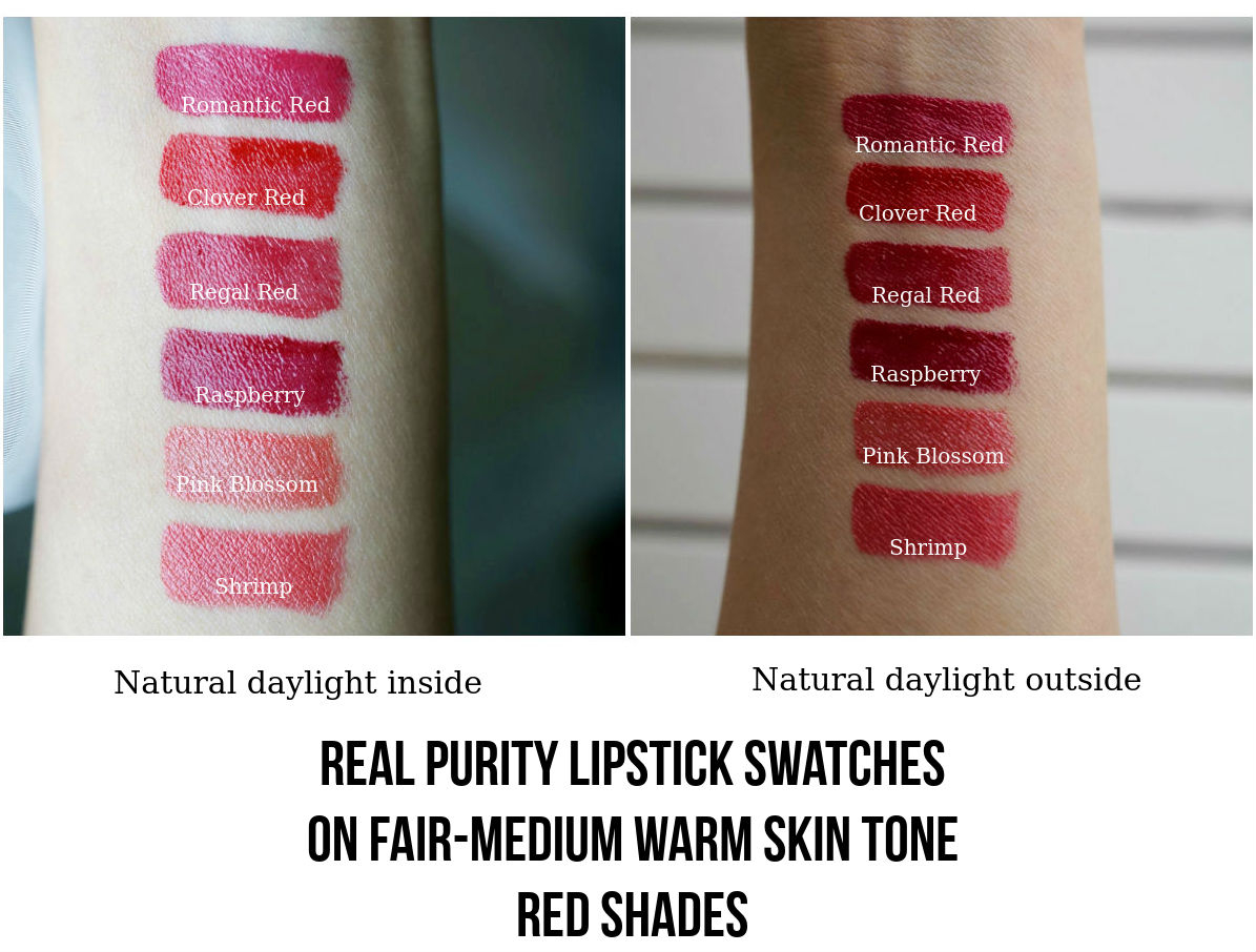 Real Purity Lipstick Red Shades