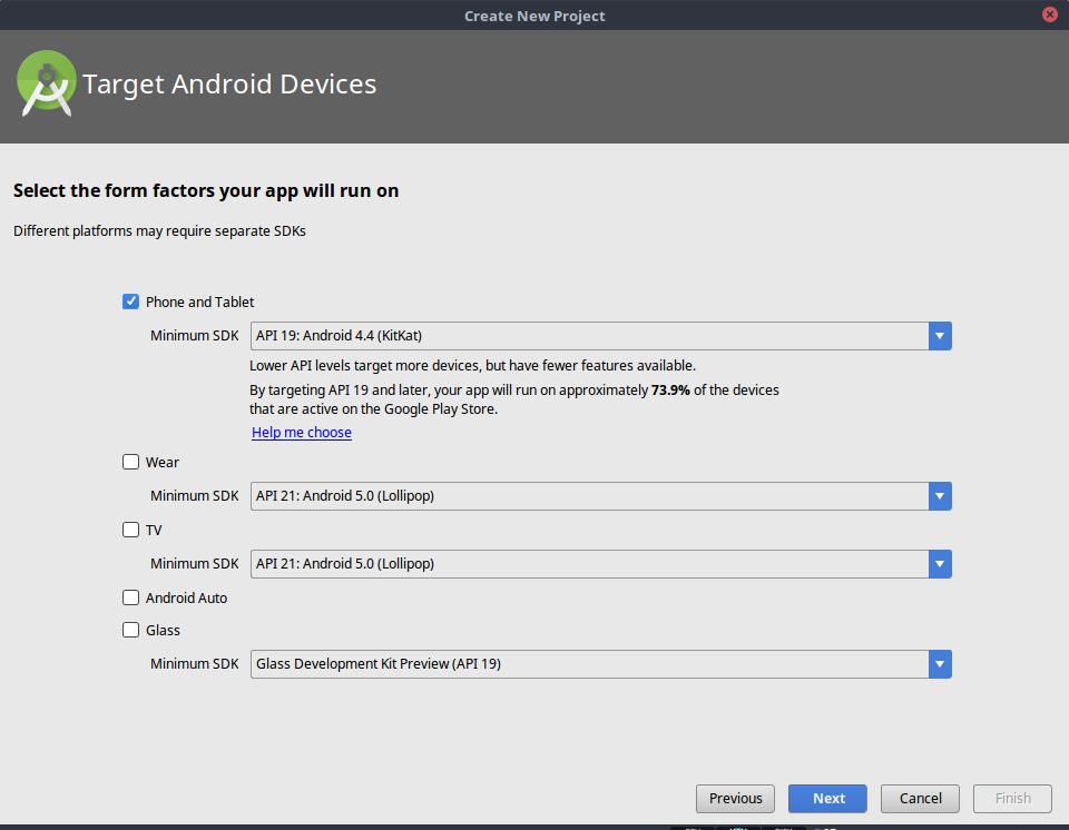 Memilih minimum SDK untuk Aplikasi Android