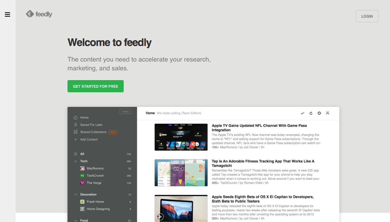 Tela de abertura do Feedly