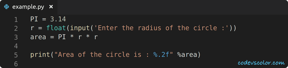 python find circle area