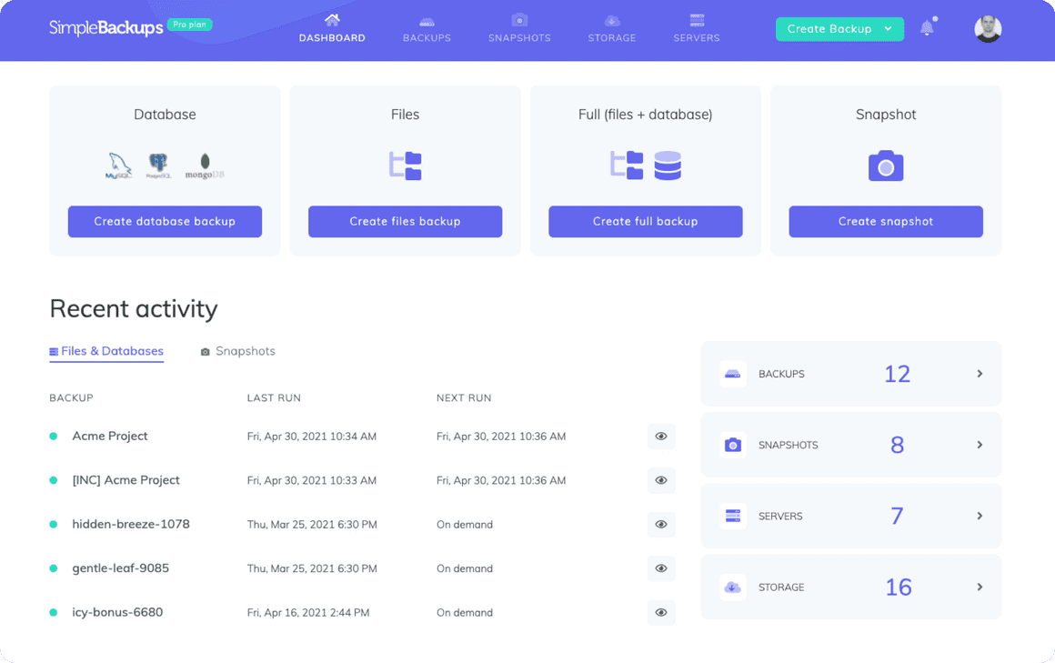 SimpleBackups dashboard, all your websites backups in one place