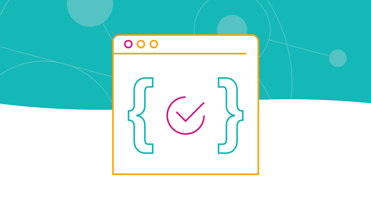 Line art of browser with curly brackets and a checkmark against teal background