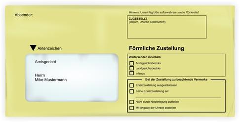 Strafbefehl: Briefumschlag für förmlicher Zustellung
