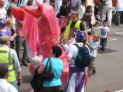 pink puppets in the 2pm parade