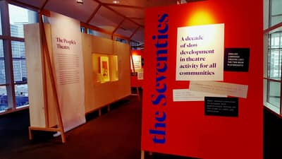 A photo showing the entrance of the Script & Stage exhibition.
