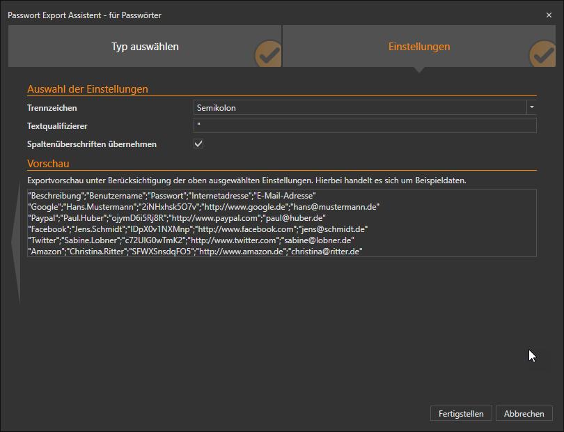 Export settings screen from Desktop App