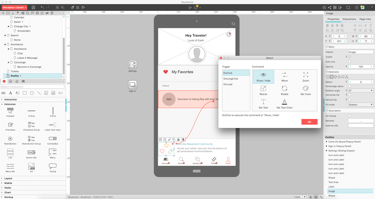 The Mockplus wireframe tool and its interface