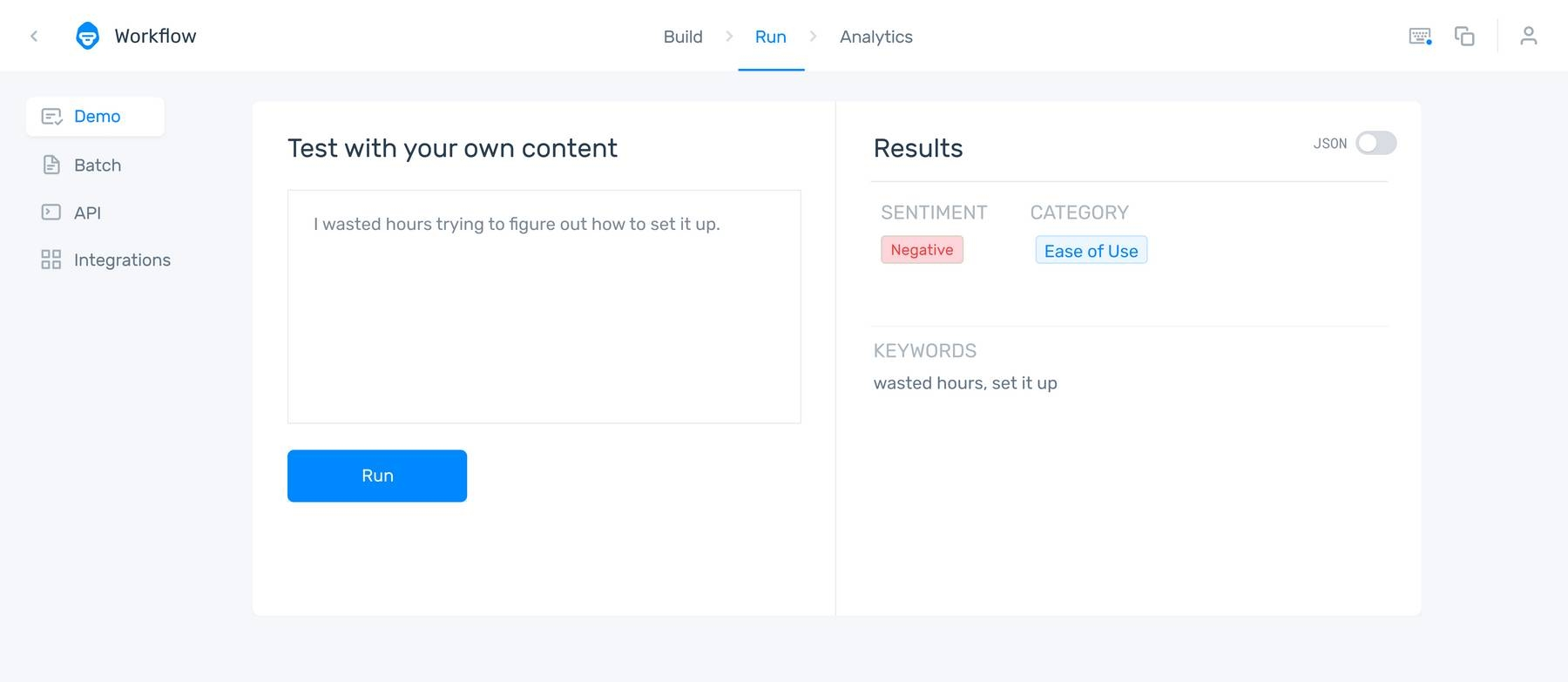 An aspect-based sentiment analyzer showing the comment: 'I wasted hours trying to figure out how to set it up.' as Negative under the category Ease of Use.