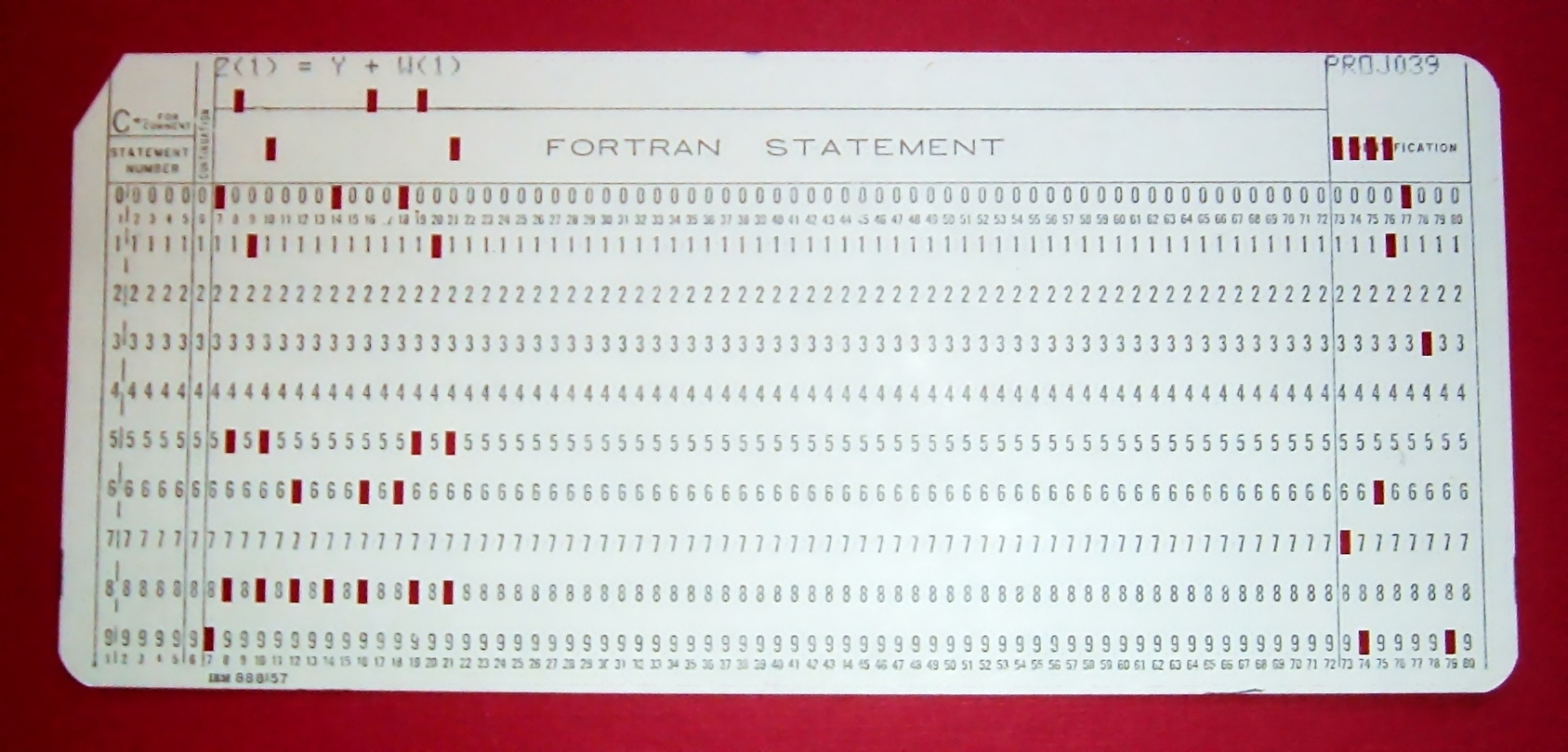 A punched card corresponding to a Fortran statement.