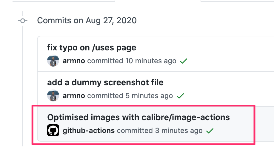 new commit created by github actions