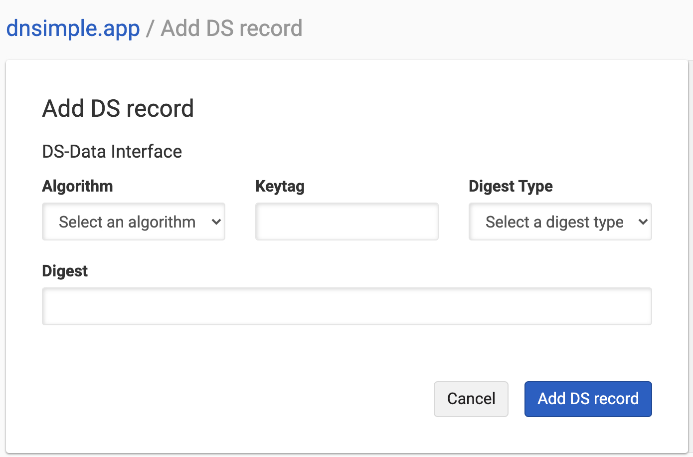 Add DS Record with DS Data