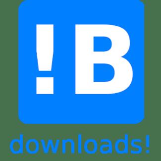 Afbeelding van mijn bedrijfslogo. Blauw vierkant met hoofdletter B met uitroepteken ervoor met tekst downloads! | advies en ondersteuning in social selling aan mkb