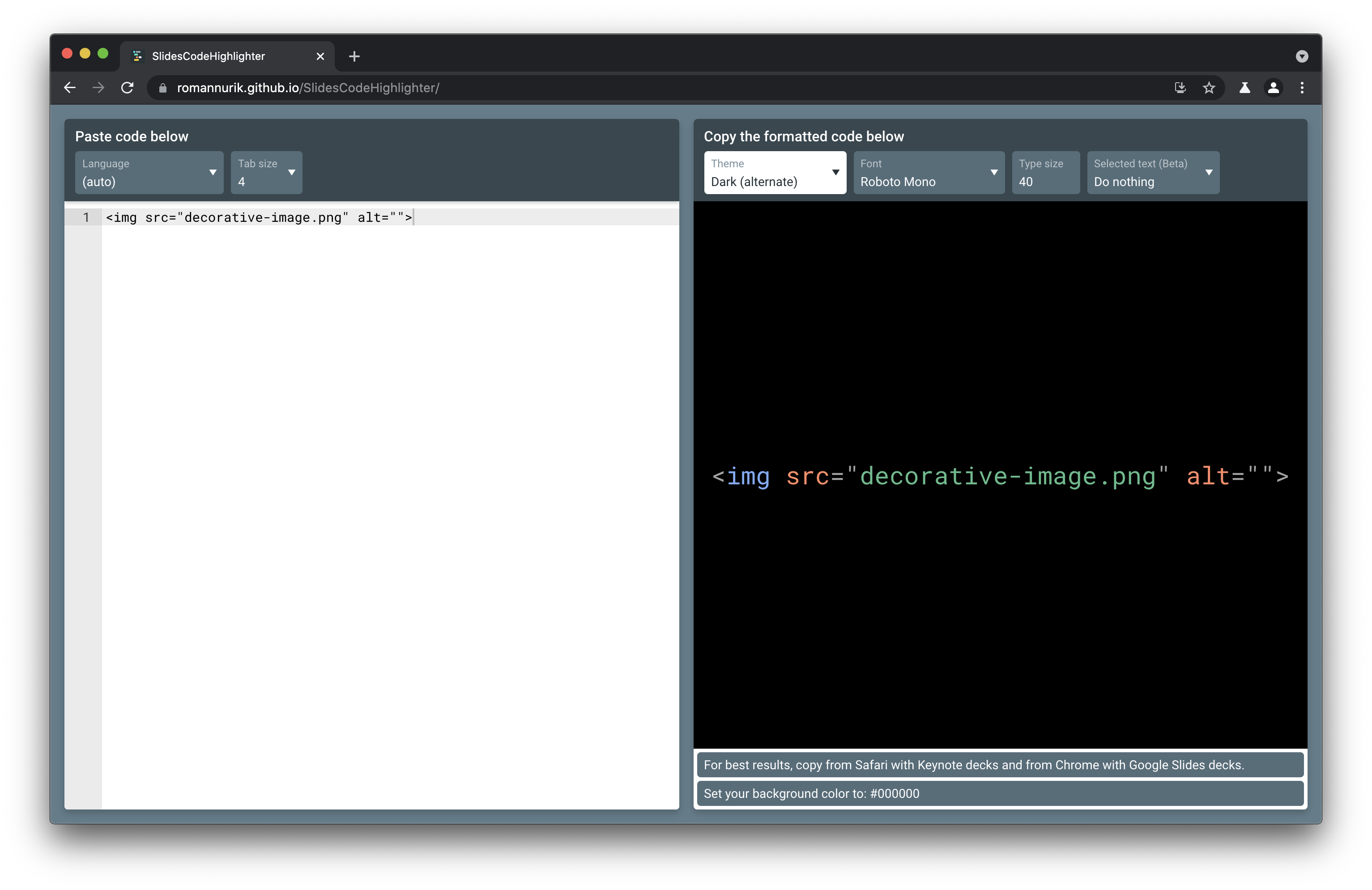 The Slides Code Highlighter Web app